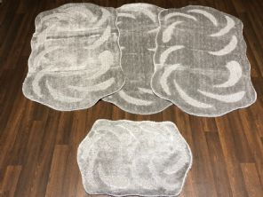 GYPSY TRAVELLERS MATS SETS 4PCS NON SLIP LARGE SIZE 75x125CM THICK SILVER/GREY